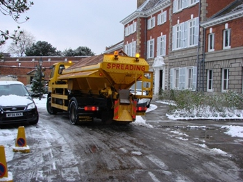 A gritting lorry in snowy conditions