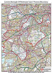 Richmond London Map.Boundary Map London Borough Of Richmond Upon Thames
