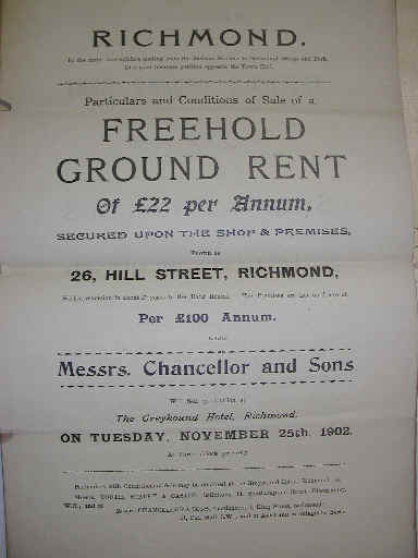 Number 26 Hill Street sale poster, November 25th 1902