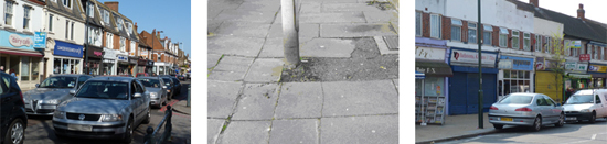 This image shows traffic congestion, a cracked pavement and some shops in a local high street which are closed