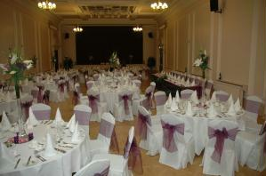 Photo showing the Clarendon Hall set up for a reception